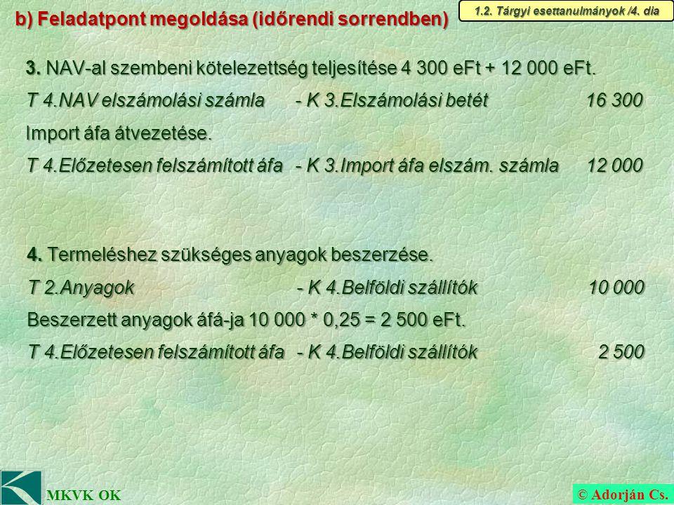 © Adorján Cs. MKVK OK b) Feladatpont megoldása (időrendi sorrendben) 3.