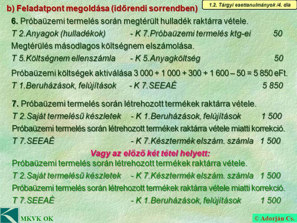 © Adorján Cs. MKVK OK b) Feladatpont megoldása (időrendi sorrendben) 6.