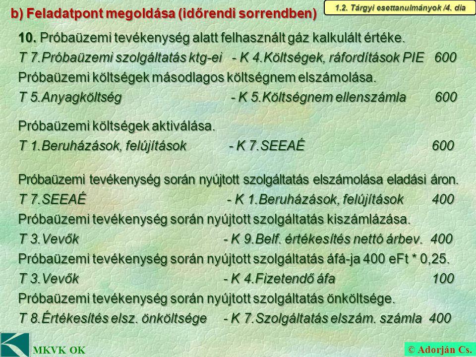 © Adorján Cs. MKVK OK b) Feladatpont megoldása (időrendi sorrendben) 10.