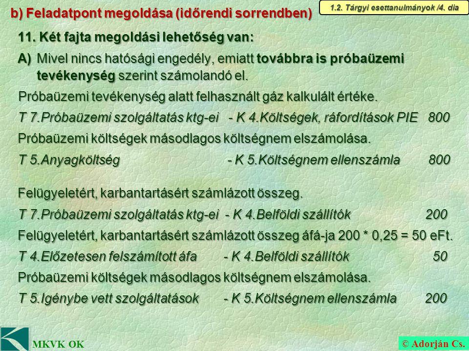 © Adorján Cs. MKVK OK b) Feladatpont megoldása (időrendi sorrendben) 11.