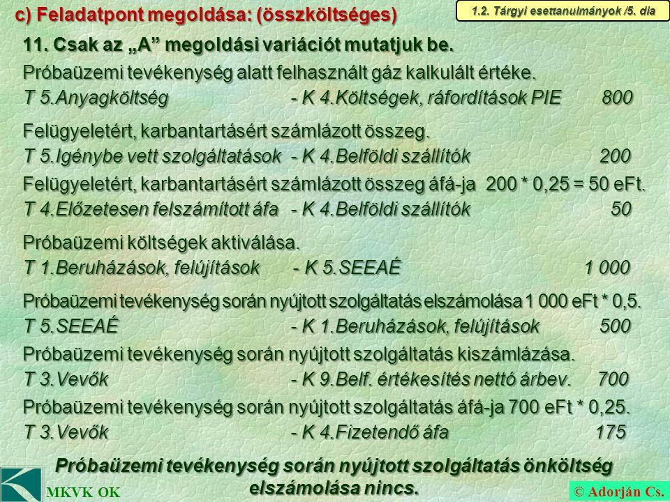 © Adorján Cs. MKVK OK c) Feladatpont megoldása: (összköltséges) 11.