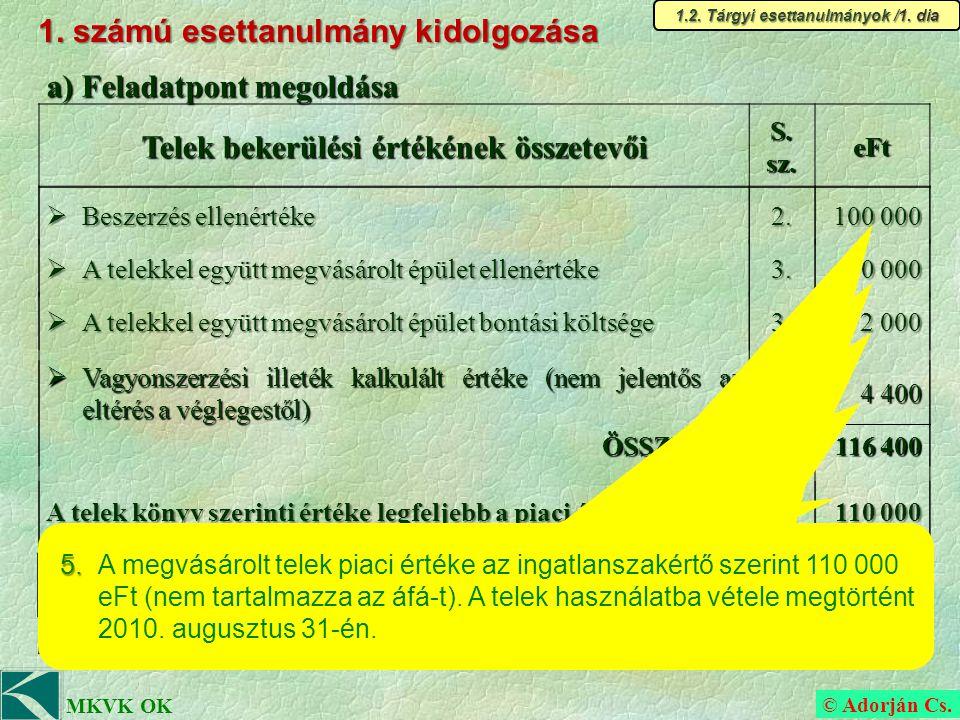 © Adorján Cs.MKVK OK b) Feladatpont megoldása (időrendi sorrendben) 3.