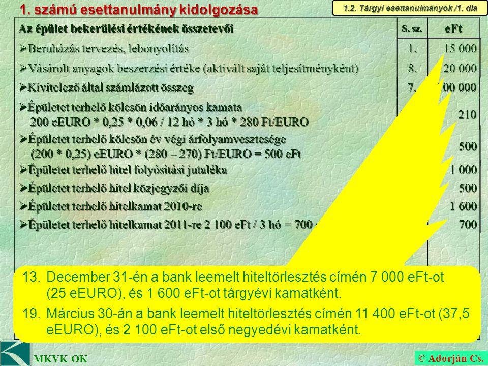 © Adorján Cs.MKVK OK b) Feladatpont megoldása (időrendi sorrendben) 7.
