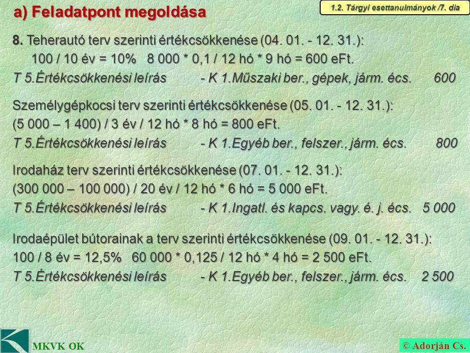 © Adorján Cs. MKVK OK a) Feladatpont megoldása 1.2.