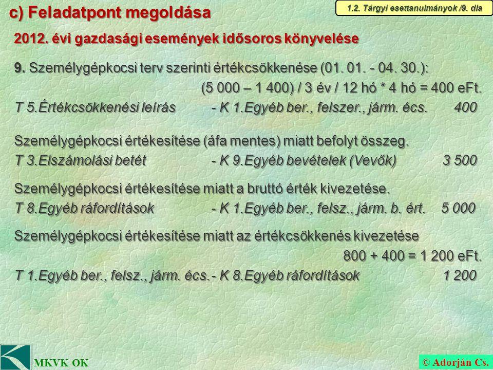 © Adorján Cs. MKVK OK c) Feladatpont megoldása 1.2.