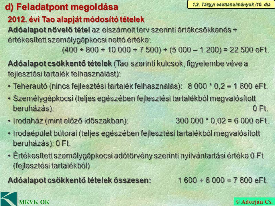© Adorján Cs. MKVK OK d) Feladatpont megoldása 1.2.