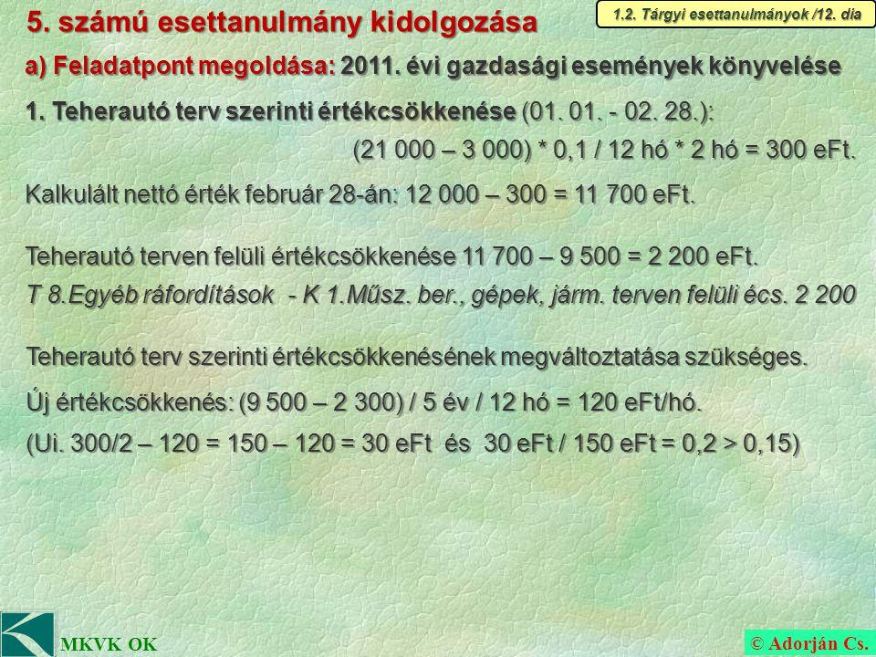 © Adorján Cs. MKVK OK 5. számú esettanulmány kidolgozása 1.2.
