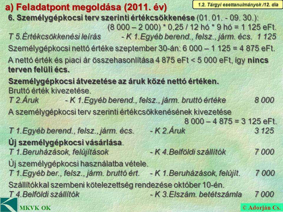 © Adorján Cs. MKVK OK a) Feladatpont megoldása (2011.
