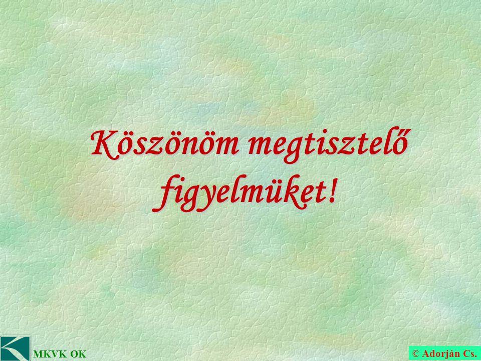 © Adorján Cs. MKVK OK Köszönöm megtisztelő figyelmüket!