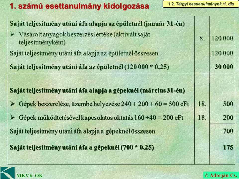 © Adorján Cs.MKVK OK b) Feladatpont megoldása (időrendi sorrendben) Március 31.