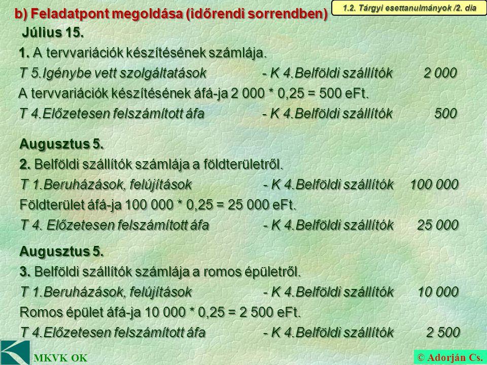 © Adorján Cs.MKVK OK b) Feladatpont megoldása (időrendi sorrendben) 1.