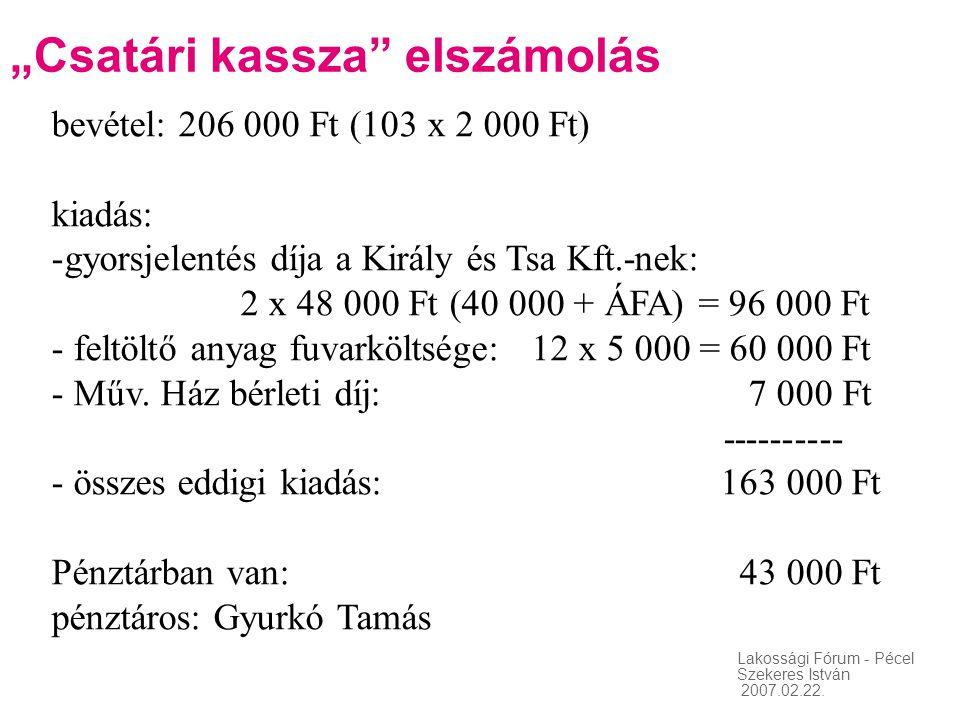 """Lakossági Fórum - Pécel Szekeres István 2007.02.22. """"Csatári kassza"""" elszámolás bevétel: 206 000 Ft (103 x 2 000 Ft) kiadás: -gyorsjelentés díja a Kir"""