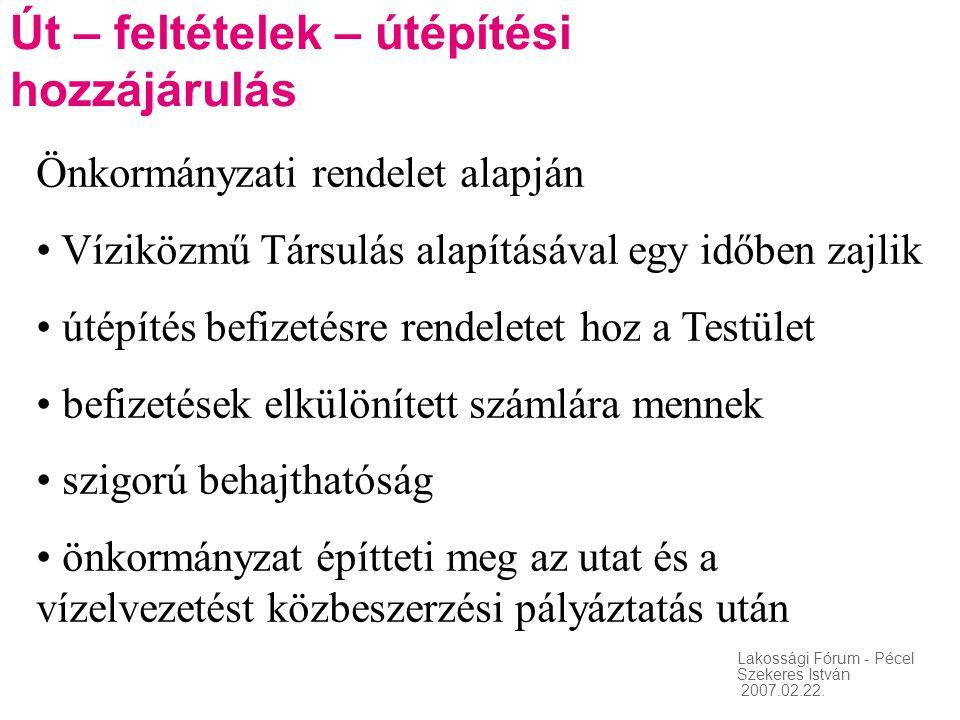 Lakossági Fórum - Pécel Szekeres István 2007.02.22. Út – feltételek – útépítési hozzájárulás Önkormányzati rendelet alapján • Víziközmű Társulás alapí