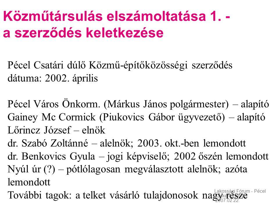 Lakossági Fórum - Pécel Szekeres István 2007.02.22. Közműtársulás elszámoltatása 1. - a szerződés keletkezése Pécel Csatári dúlő Közmű-építőközösségi