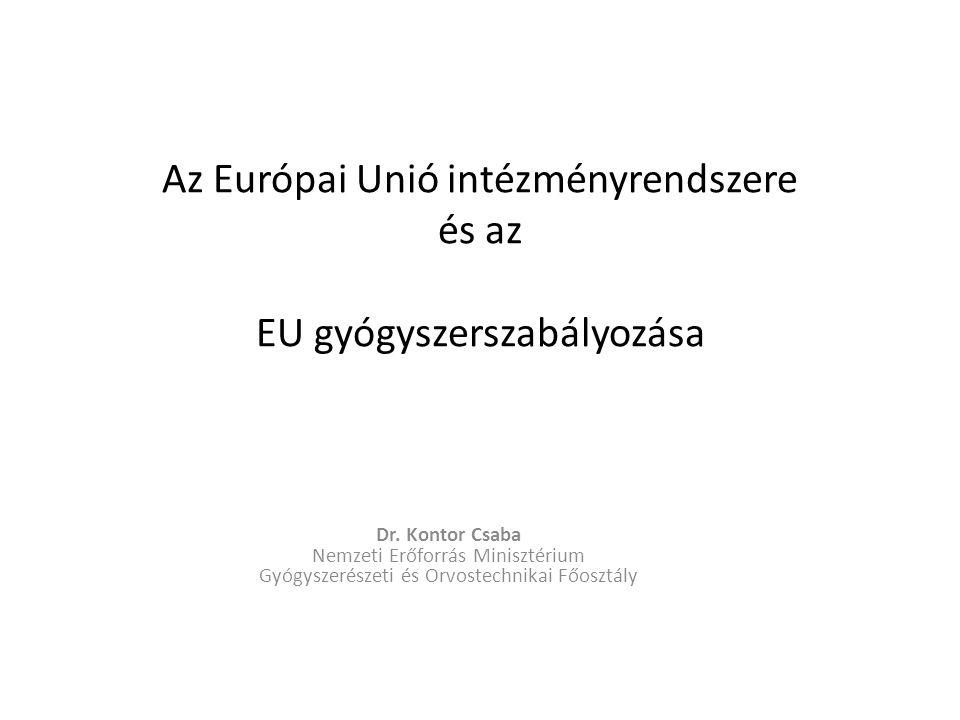 Az Európai Unió intézményrendszere és az EU gyógyszerszabályozása Dr. Kontor Csaba Nemzeti Erőforrás Minisztérium Gyógyszerészeti és Orvostechnikai Fő