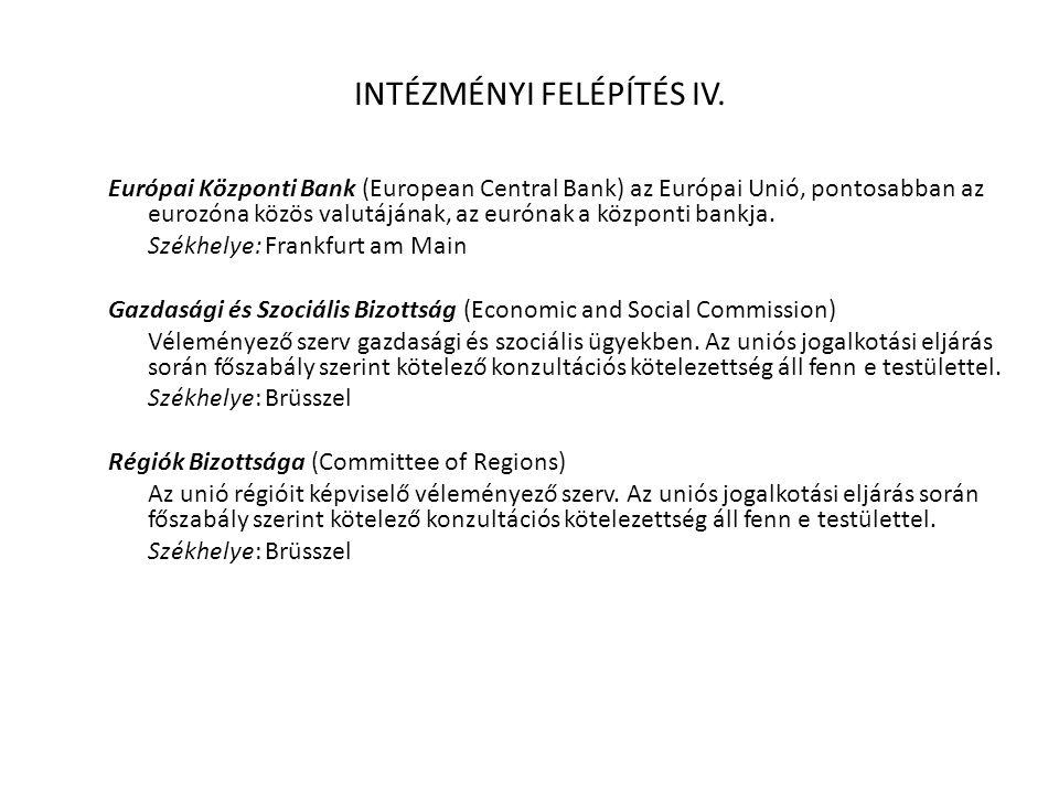 INTÉZMÉNYI FELÉPÍTÉS IV. Európai Központi Bank (European Central Bank) az Európai Unió, pontosabban az eurozóna közös valutájának, az eurónak a közpon