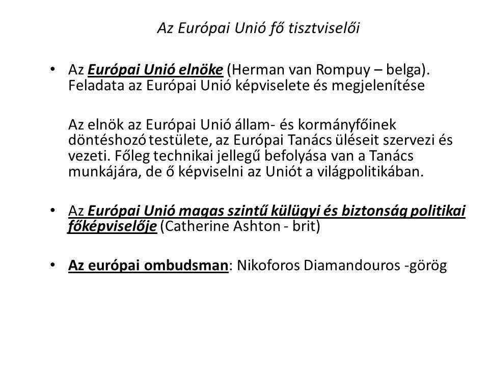 Az Európai Unió fő tisztviselői • Az Európai Unió elnöke (Herman van Rompuy – belga). Feladata az Európai Unió képviselete és megjelenítése Az elnök a