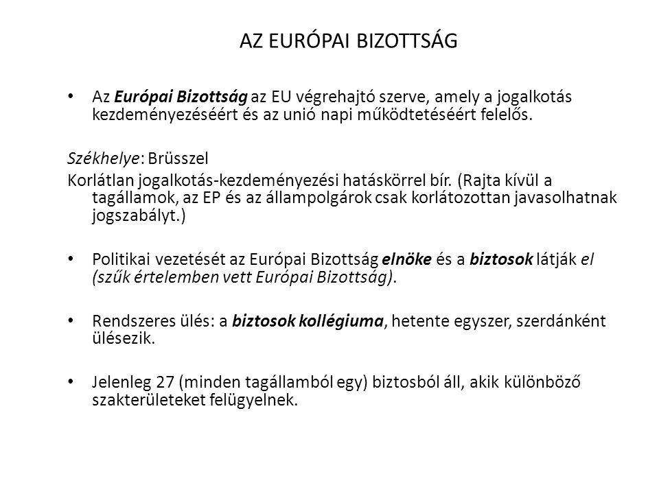 AZ EURÓPAI BIZOTTSÁG • Az Európai Bizottság az EU végrehajtó szerve, amely a jogalkotás kezdeményezéséért és az unió napi működtetéséért felelős. Szék