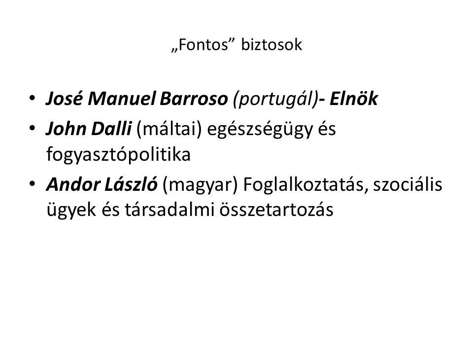 """""""Fontos"""" biztosok • José Manuel Barroso (portugál)- Elnök • John Dalli (máltai) egészségügy és fogyasztópolitika • Andor László (magyar) Foglalkoztatá"""
