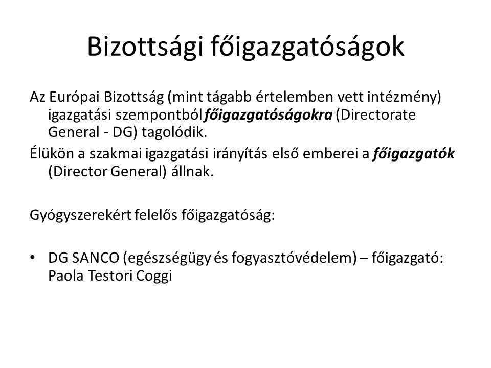 Bizottsági főigazgatóságok Az Európai Bizottság (mint tágabb értelemben vett intézmény) igazgatási szempontból főigazgatóságokra (Directorate General
