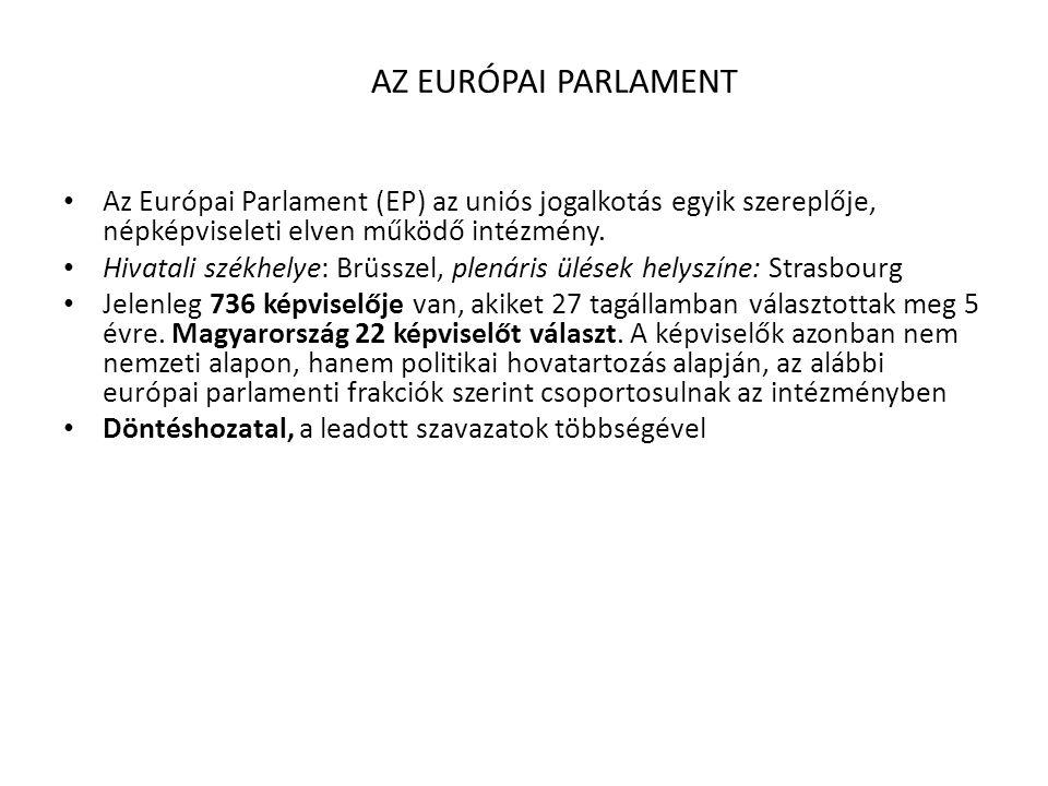 AZ EURÓPAI PARLAMENT • Az Európai Parlament (EP) az uniós jogalkotás egyik szereplője, népképviseleti elven működő intézmény. • Hivatali székhelye: Br