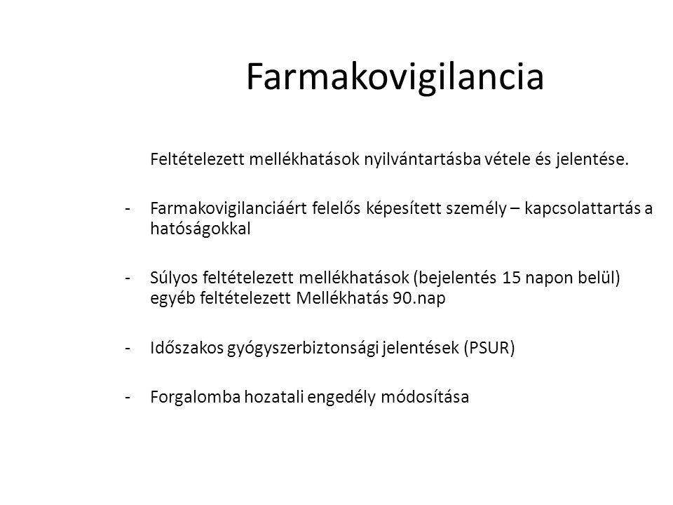 Farmakovigilancia Feltételezett mellékhatások nyilvántartásba vétele és jelentése. -Farmakovigilanciáért felelős képesített személy – kapcsolattartás