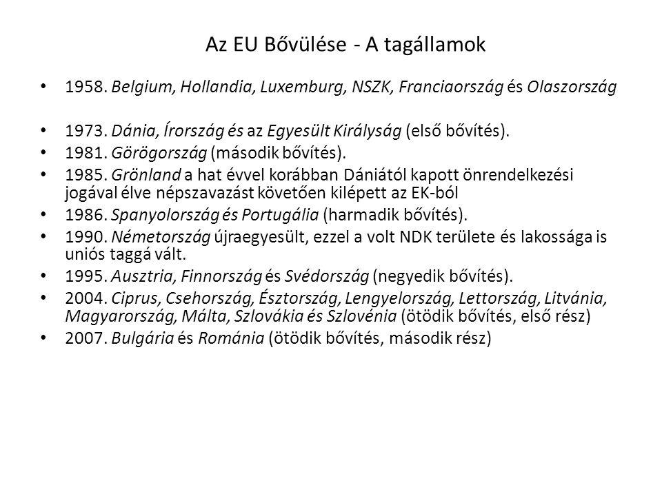 Az EU Bővülése - A tagállamok • 1958. Belgium, Hollandia, Luxemburg, NSZK, Franciaország és Olaszország • 1973. Dánia, Írország és az Egyesült Királys