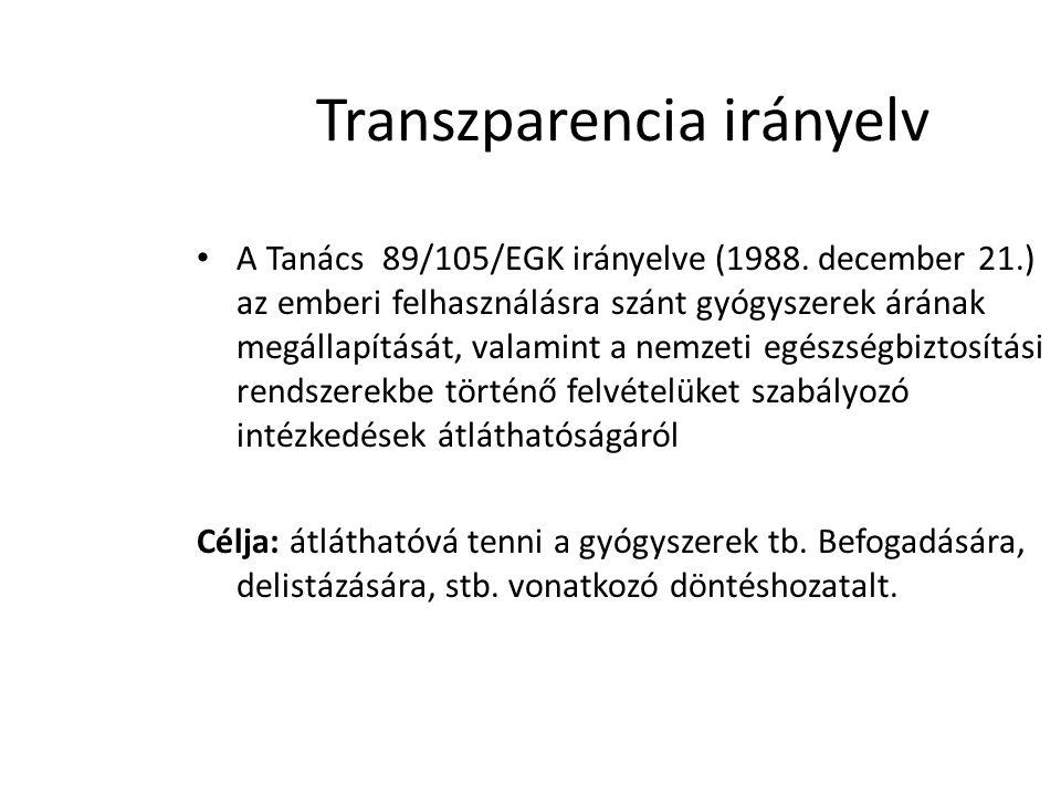 Transzparencia irányelv • A Tanács 89/105/EGK irányelve (1988. december 21.) az emberi felhasználásra szánt gyógyszerek árának megállapítását, valamin