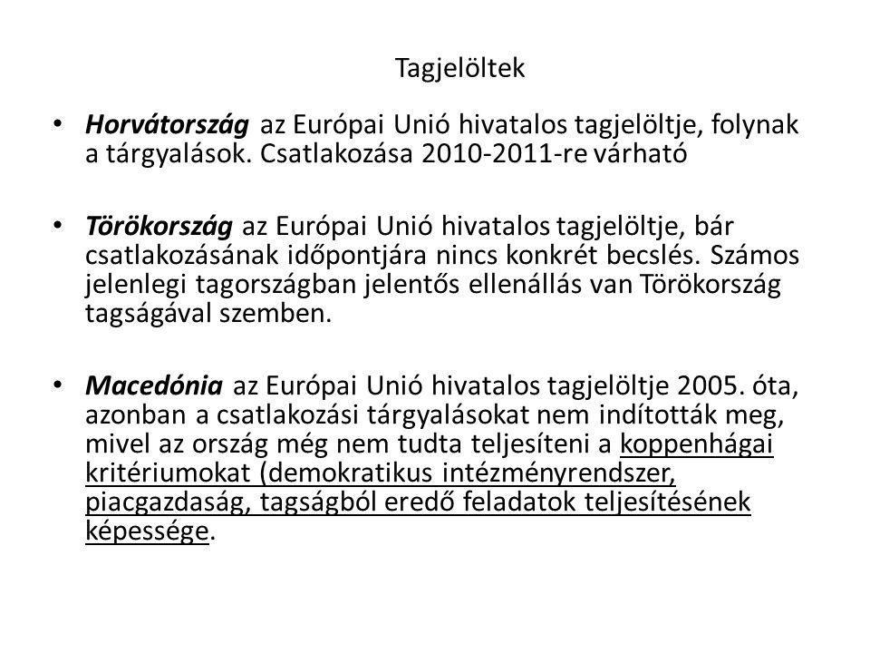Tagjelöltek • Horvátország az Európai Unió hivatalos tagjelöltje, folynak a tárgyalások. Csatlakozása 2010-2011-re várható • Törökország az Európai Un