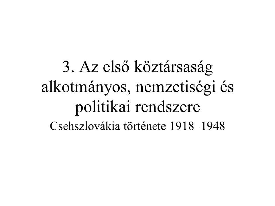 3. Az első köztársaság alkotmányos, nemzetiségi és politikai rendszere Csehszlovákia története 1918–1948
