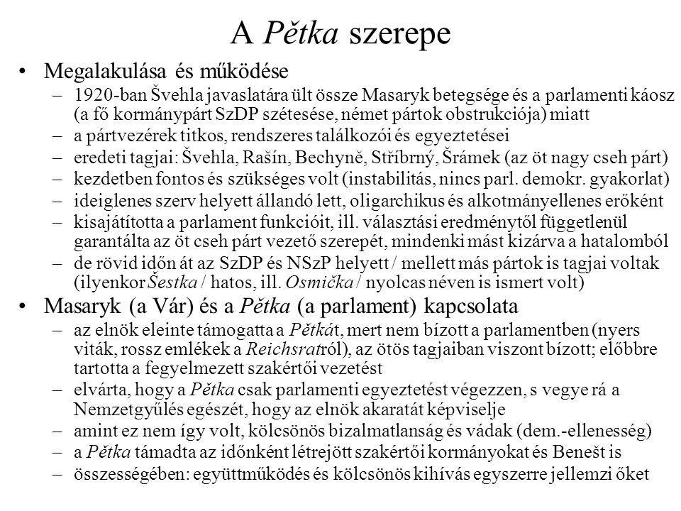 A Pětka szerepe •Megalakulása és működése –1920-ban Švehla javaslatára ült össze Masaryk betegsége és a parlamenti káosz (a fő kormánypárt SzDP szétes