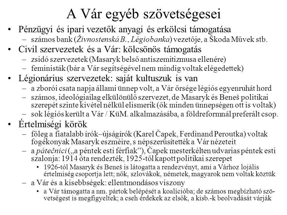 A Vár egyéb szövetségesei •Pénzügyi és ipari vezetők anyagi és erkölcsi támogatása –számos bank (Živnostenská B., Légiobanka) vezetője, a Škoda Művek