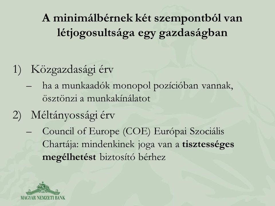 A minimálbérnek két szempontból van létjogosultsága egy gazdaságban 1)Közgazdasági érv –ha a munkaadók monopol pozícióban vannak, ösztönzi a munkakínálatot 2)Méltányossági érv –Council of Europe (COE) Európai Szociális Chartája: mindenkinek joga van a tisztességes megélhetést biztosító bérhez