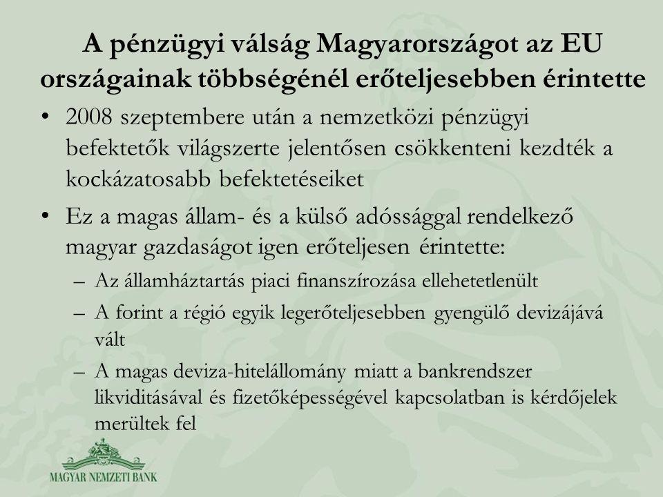 A pénzügyi válság Magyarországot az EU országainak többségénél erőteljesebben érintette •2008 szeptembere után a nemzetközi pénzügyi befektetők világszerte jelentősen csökkenteni kezdték a kockázatosabb befektetéseiket •Ez a magas állam- és a külső adóssággal rendelkező magyar gazdaságot igen erőteljesen érintette: –Az államháztartás piaci finanszírozása ellehetetlenült –A forint a régió egyik legerőteljesebben gyengülő devizájává vált –A magas deviza-hitelállomány miatt a bankrendszer likviditásával és fizetőképességével kapcsolatban is kérdőjelek merültek fel