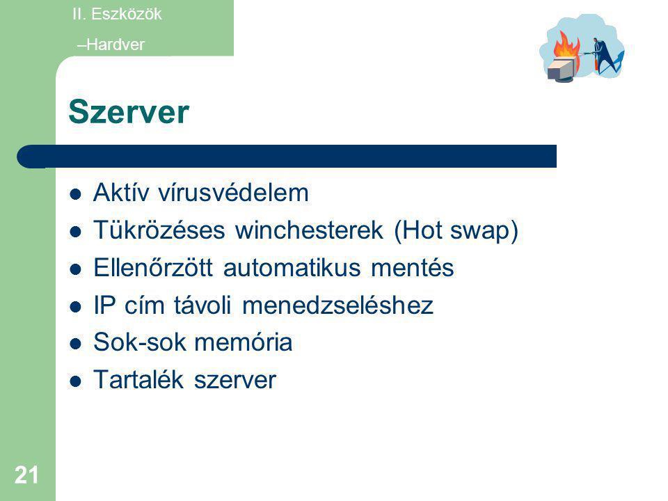21 Szerver  Aktív vírusvédelem  Tükrözéses winchesterek (Hot swap)  Ellenőrzött automatikus mentés  IP cím távoli menedzseléshez  Sok-sok memória
