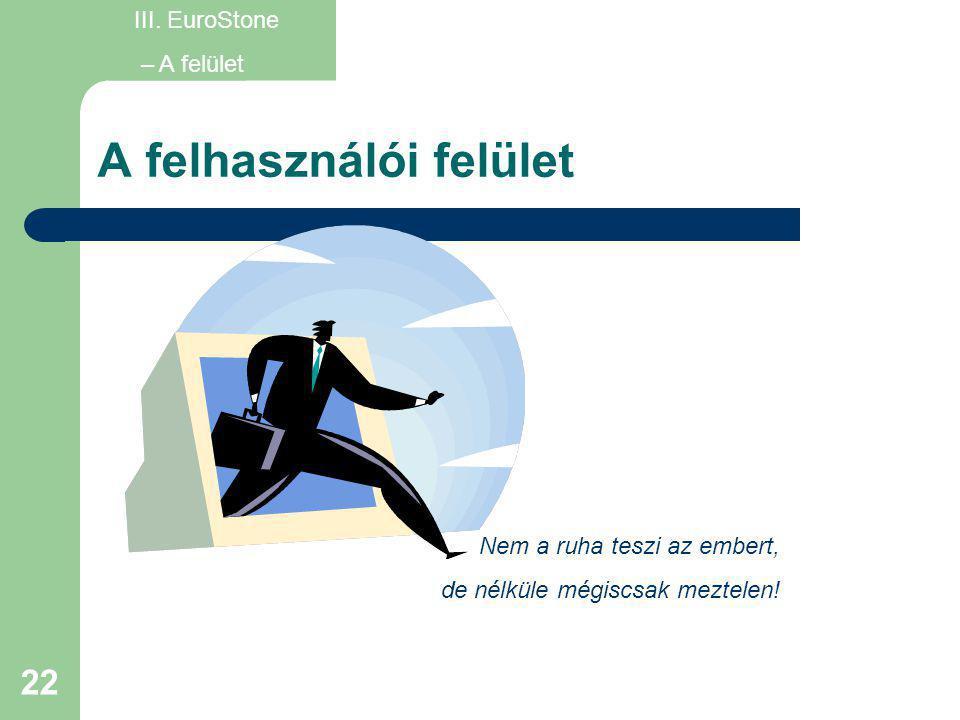 22 A felhasználói felület III. EuroStone – A felület Nem a ruha teszi az embert, de nélküle mégiscsak meztelen!