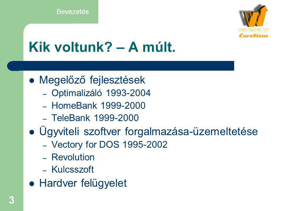 3 Kik voltunk? – A múlt.  Megelőző fejlesztések – Optimalizáló 1993-2004 – HomeBank 1999-2000 – TeleBank 1999-2000  Ügyviteli szoftver forgalmazása-