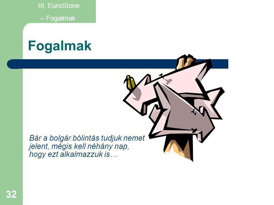 32 Fogalmak III. EuroStone – Fogalmak Bár a bolgár bólintás tudjuk nemet jelent, mégis kell néhány nap, hogy ezt alkalmazzuk is…