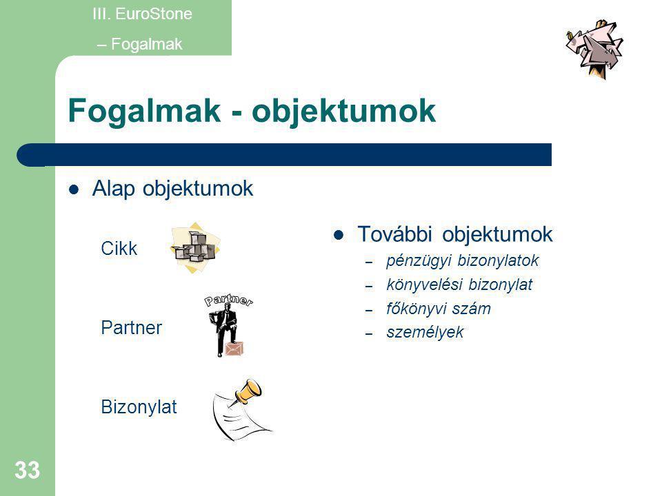 33 Fogalmak - objektumok  Alap objektumok Cikk Partner Bizonylat  További objektumok – pénzügyi bizonylatok – könyvelési bizonylat – főkönyvi szám –