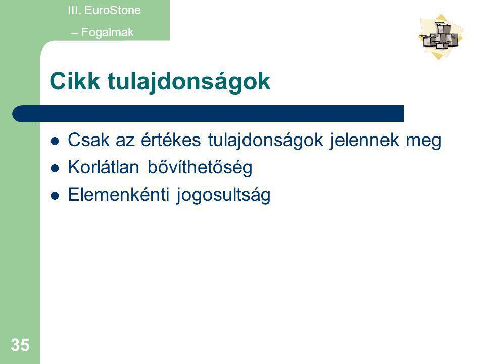 35 Cikk tulajdonságok  Csak az értékes tulajdonságok jelennek meg  Korlátlan bővíthetőség  Elemenkénti jogosultság III. EuroStone – Fogalmak