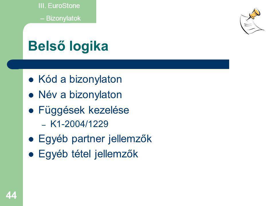 44 Belső logika  Kód a bizonylaton  Név a bizonylaton  Függések kezelése – K1-2004/1229  Egyéb partner jellemzők  Egyéb tétel jellemzők III. Euro
