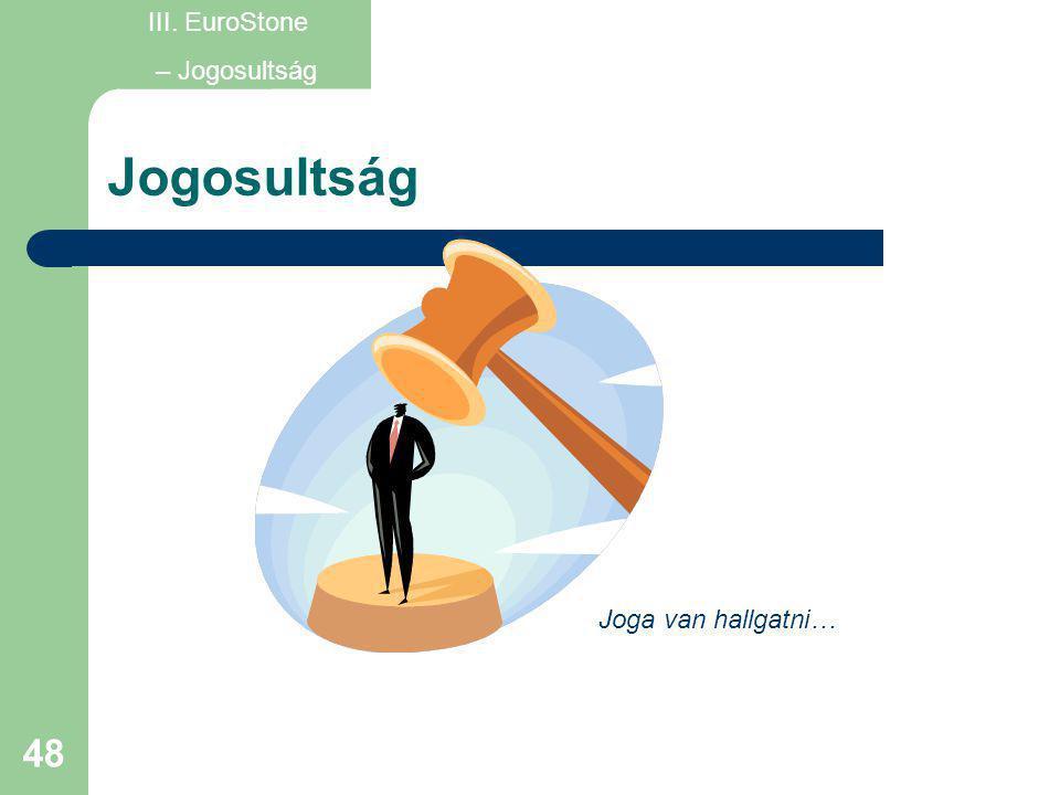 48 Jogosultság Joga van hallgatni… III. EuroStone – Jogosultság