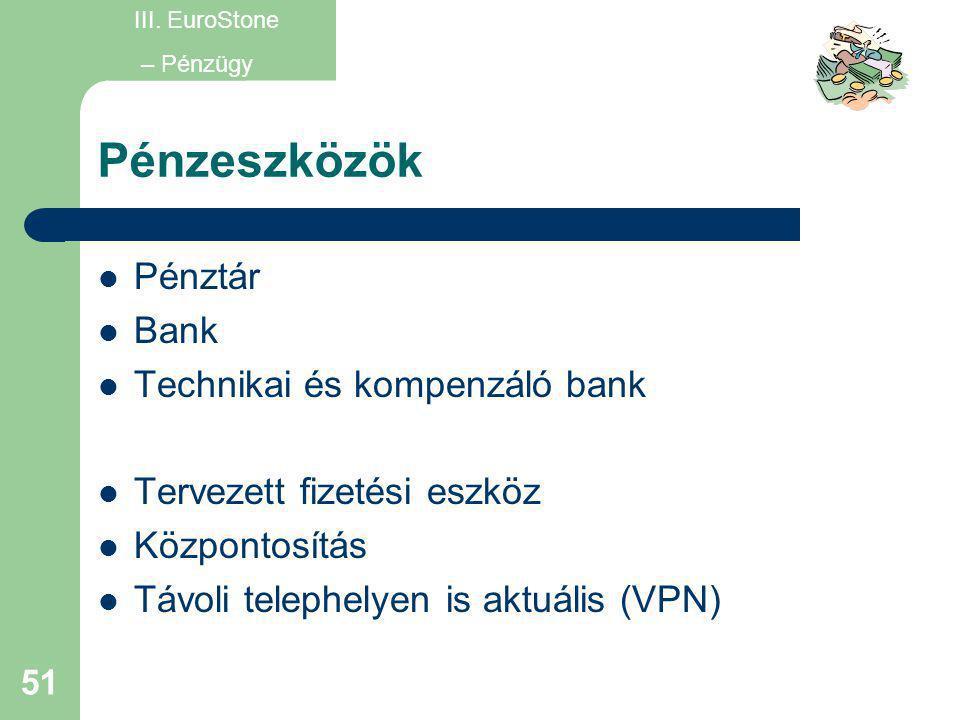 51 Pénzeszközök  Pénztár  Bank  Technikai és kompenzáló bank  Tervezett fizetési eszköz  Központosítás  Távoli telephelyen is aktuális (VPN) III