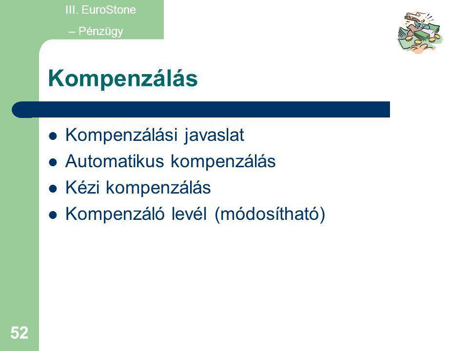 52 Kompenzálás  Kompenzálási javaslat  Automatikus kompenzálás  Kézi kompenzálás  Kompenzáló levél (módosítható) III. EuroStone – Pénzügy