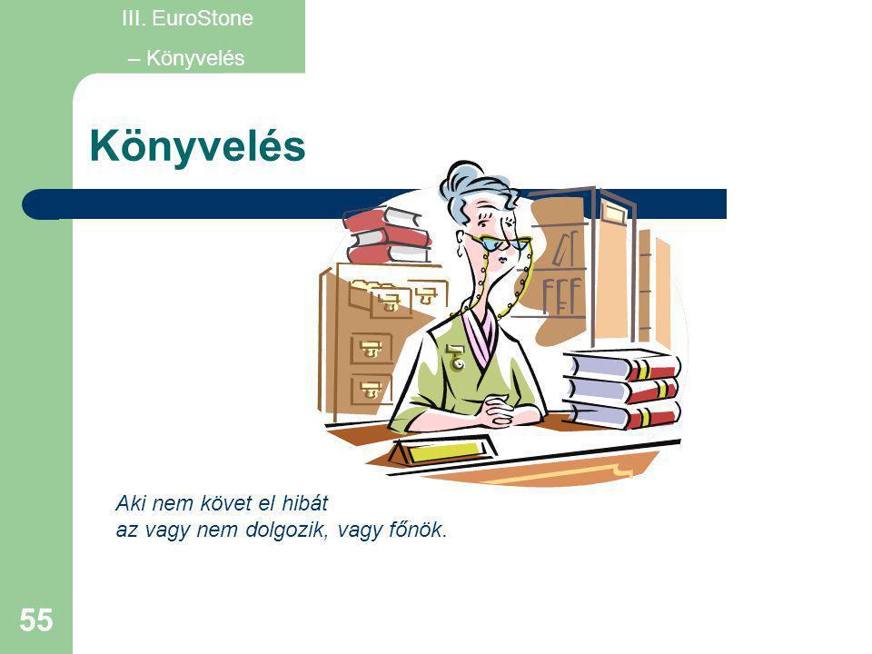 55 Könyvelés Aki nem követ el hibát az vagy nem dolgozik, vagy főnök. III. EuroStone – Könyvelés