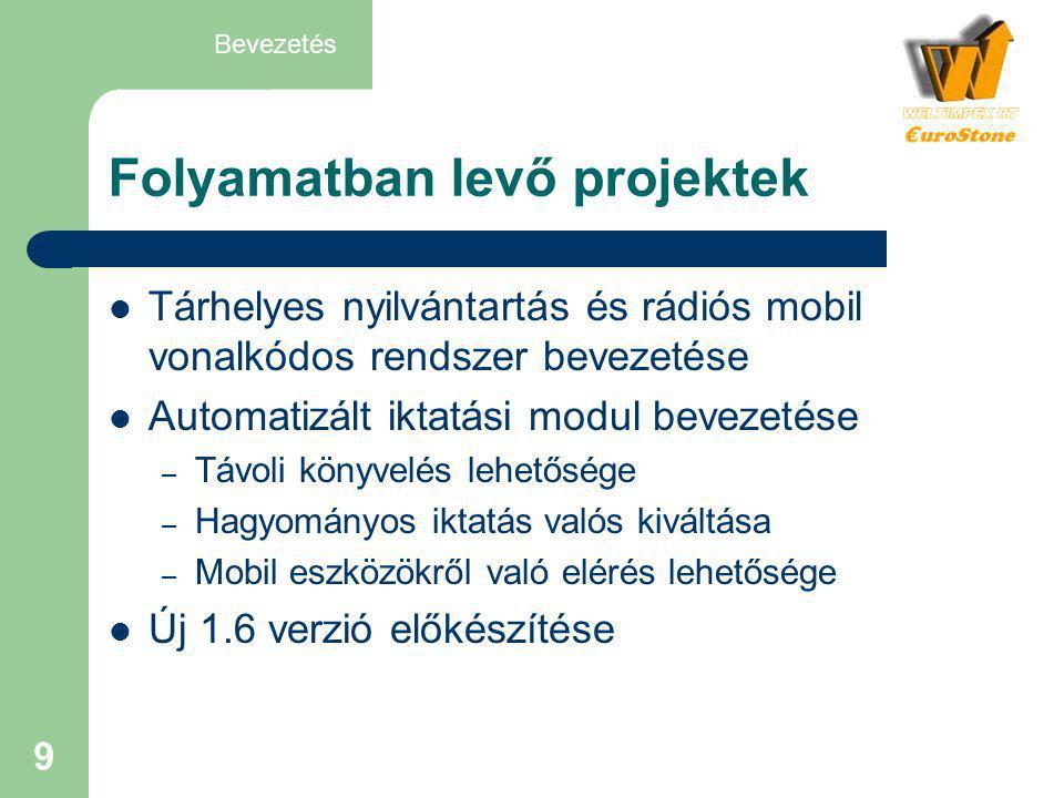 9 Folyamatban levő projektek  Tárhelyes nyilvántartás és rádiós mobil vonalkódos rendszer bevezetése  Automatizált iktatási modul bevezetése – Távol