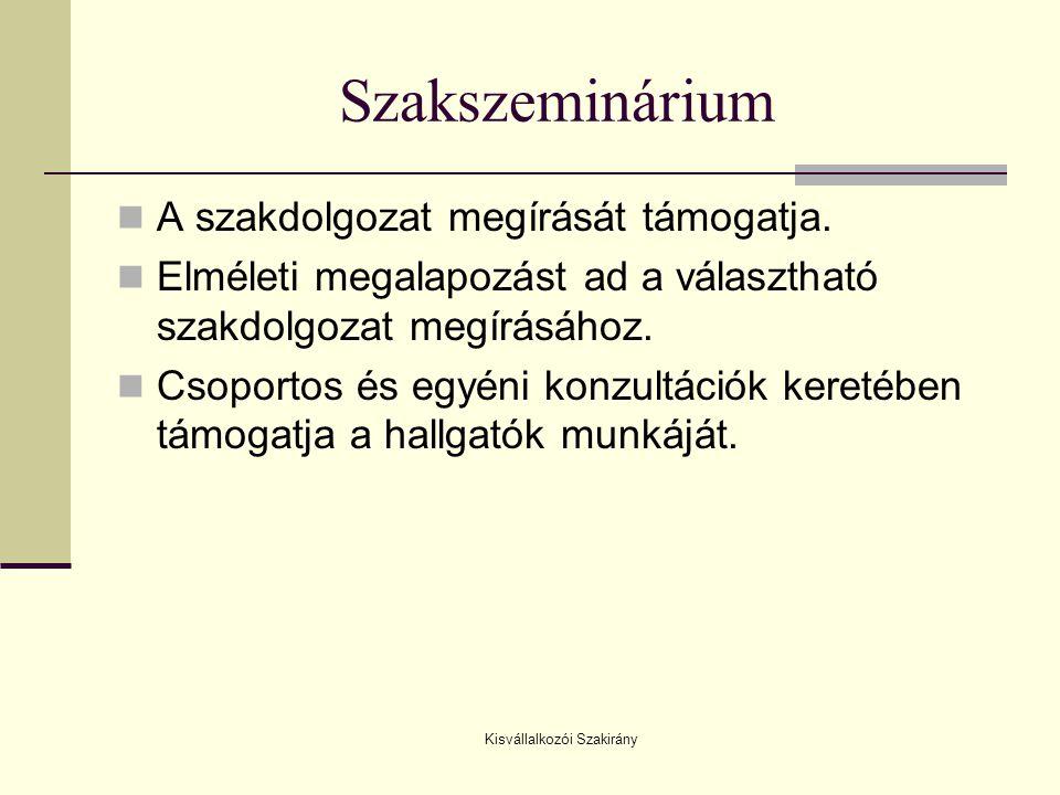 Kisvállalkozói Szakirány Szakszeminárium  A szakdolgozat megírását támogatja.  Elméleti megalapozást ad a választható szakdolgozat megírásához.  Cs
