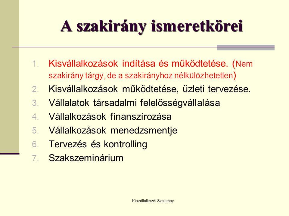 Kisvállalkozói Szakirány A szakirány ismeretkörei 1. Kisvállalkozások indítása és működtetése. ( Nem szakirány tárgy, de a szakirányhoz nélkülözhetetl