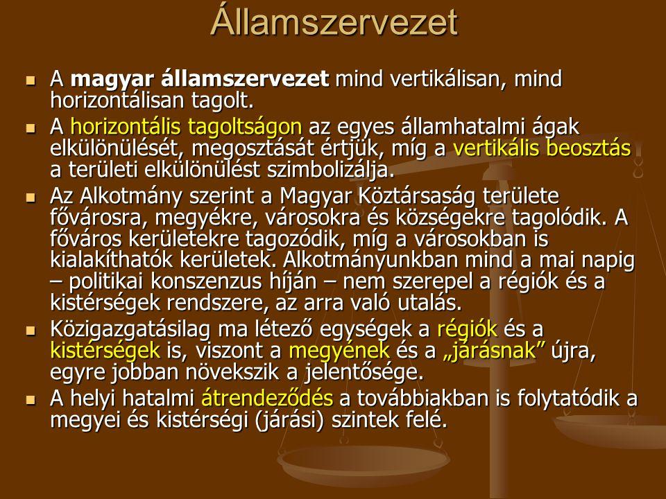 Államszervezet  A magyar államszervezet mind vertikálisan, mind horizontálisan tagolt.  A horizontális tagoltságon az egyes államhatalmi ágak elkülö