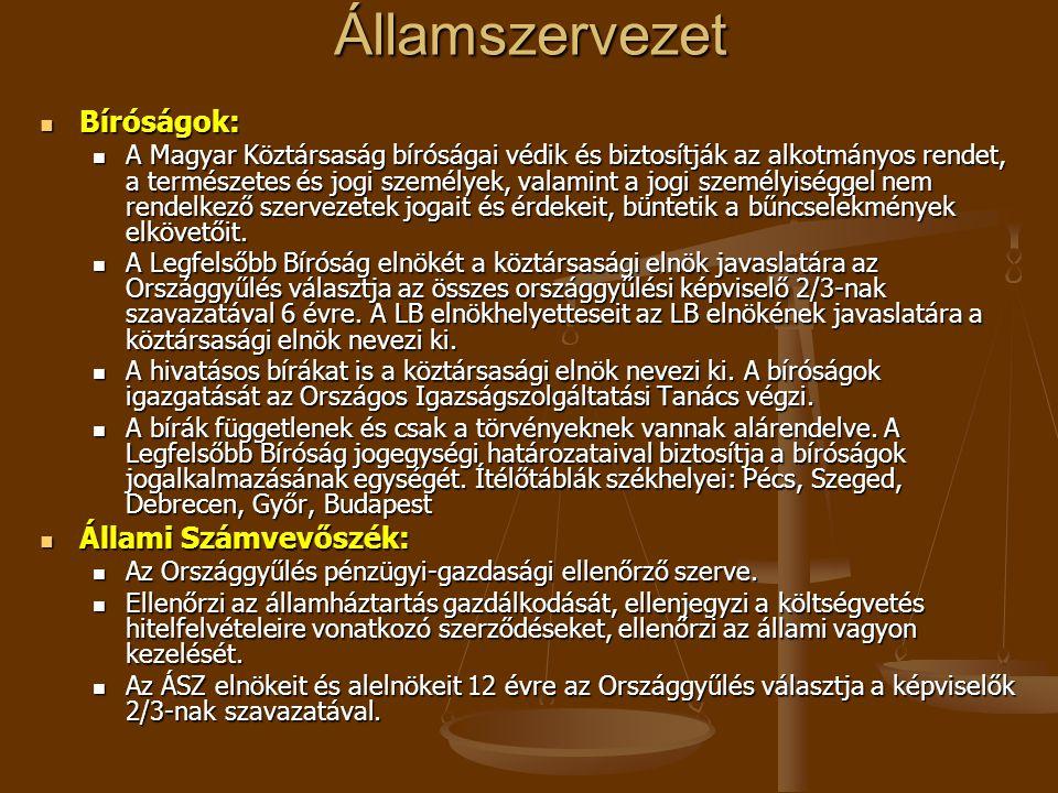 Államszervezet  Bíróságok:  A Magyar Köztársaság bíróságai védik és biztosítják az alkotmányos rendet, a természetes és jogi személyek, valamint a j